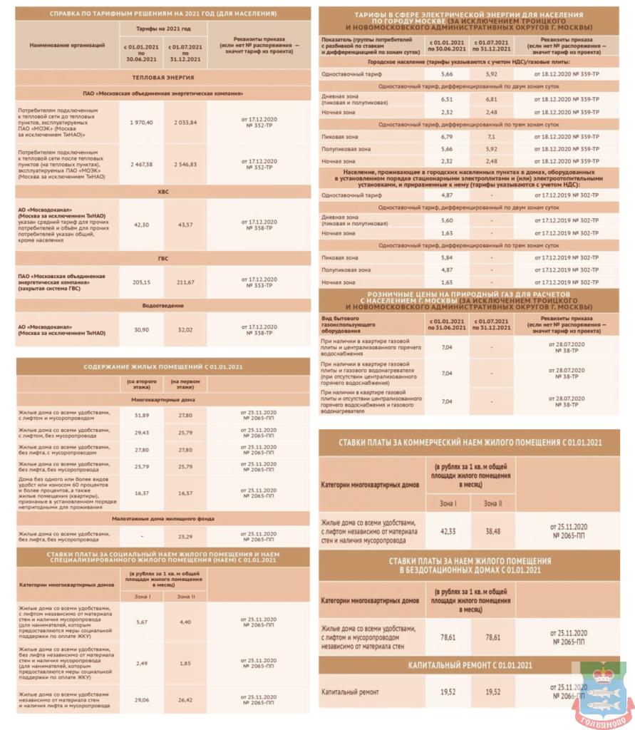 Изменение тарифов за жилищно-эксплуатационные услуги с 1 июля 2021 года